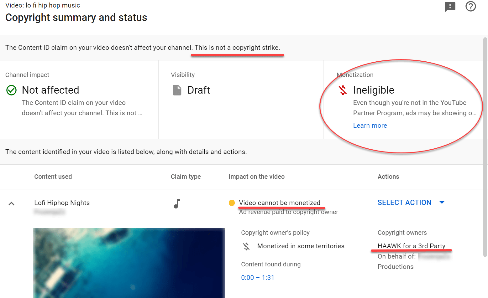 youtube copyright claim details
