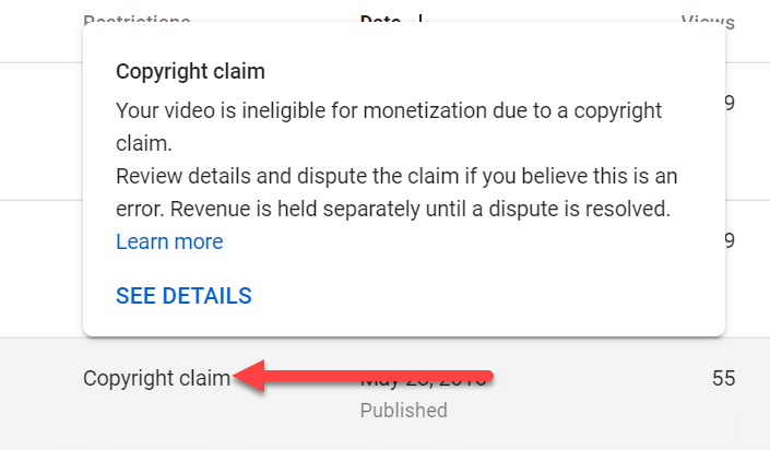 find out copyright claim details