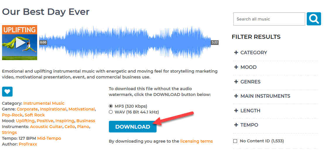 how to download royalty free stock music