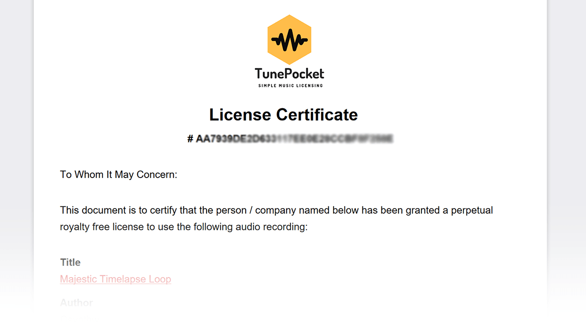 tunepocket licensing certificate