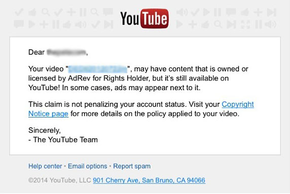youtube adrev copyright notice example