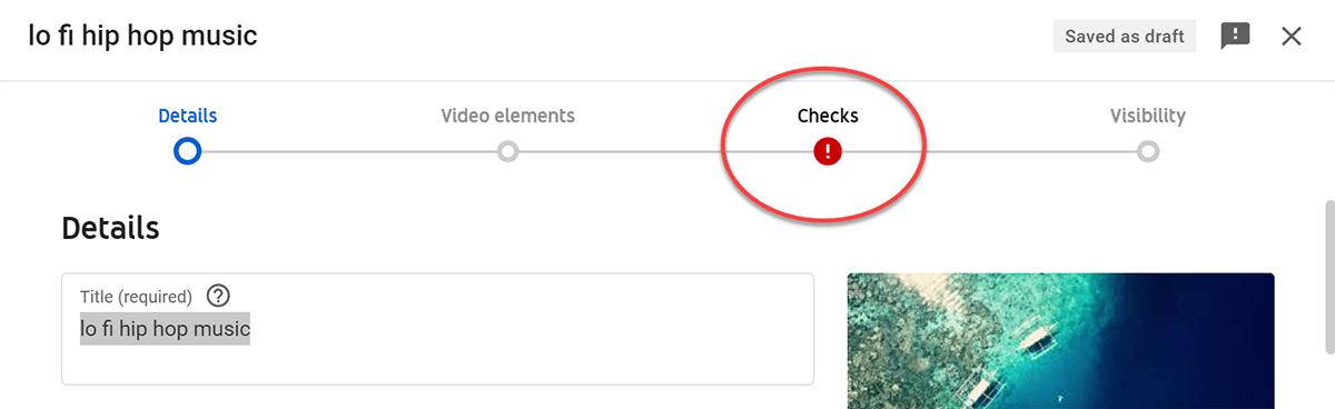 youtube upload copyright check failed